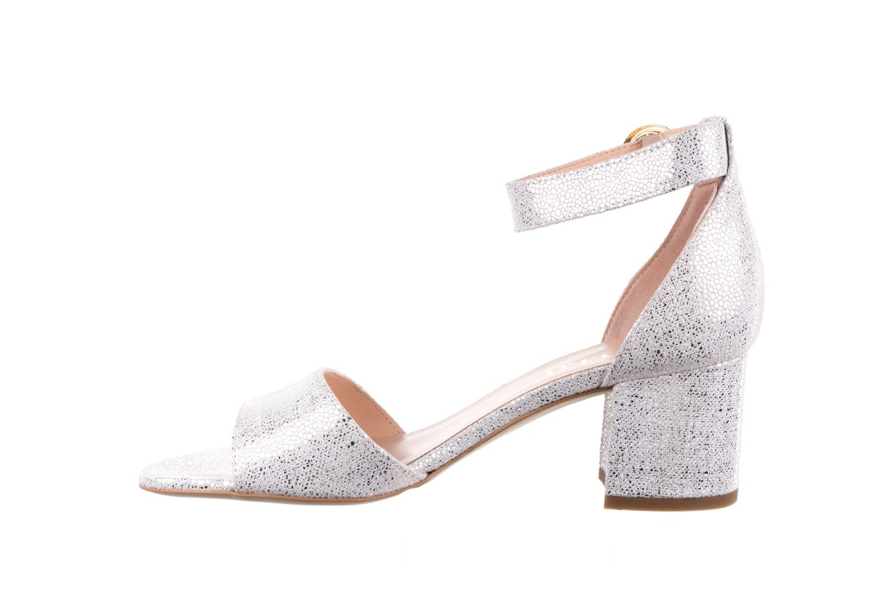Sandały bayla-056 7049-1152 biały melanż, skóra naturalna  - dla niej  - sale 9