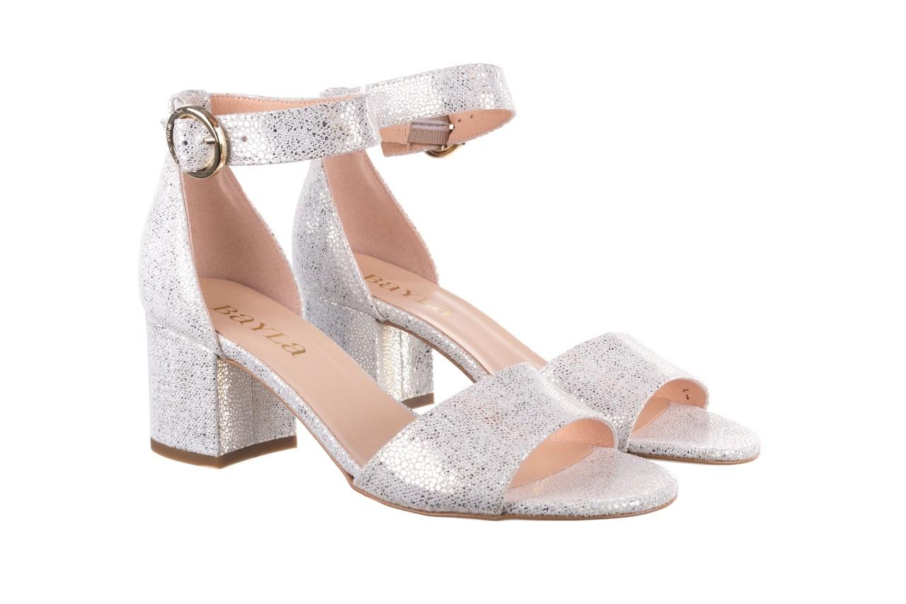 Sandały bayla-056 7049-1152 biały melanż, skóra naturalna  - na obcasie - sandały - buty damskie - kobieta 8