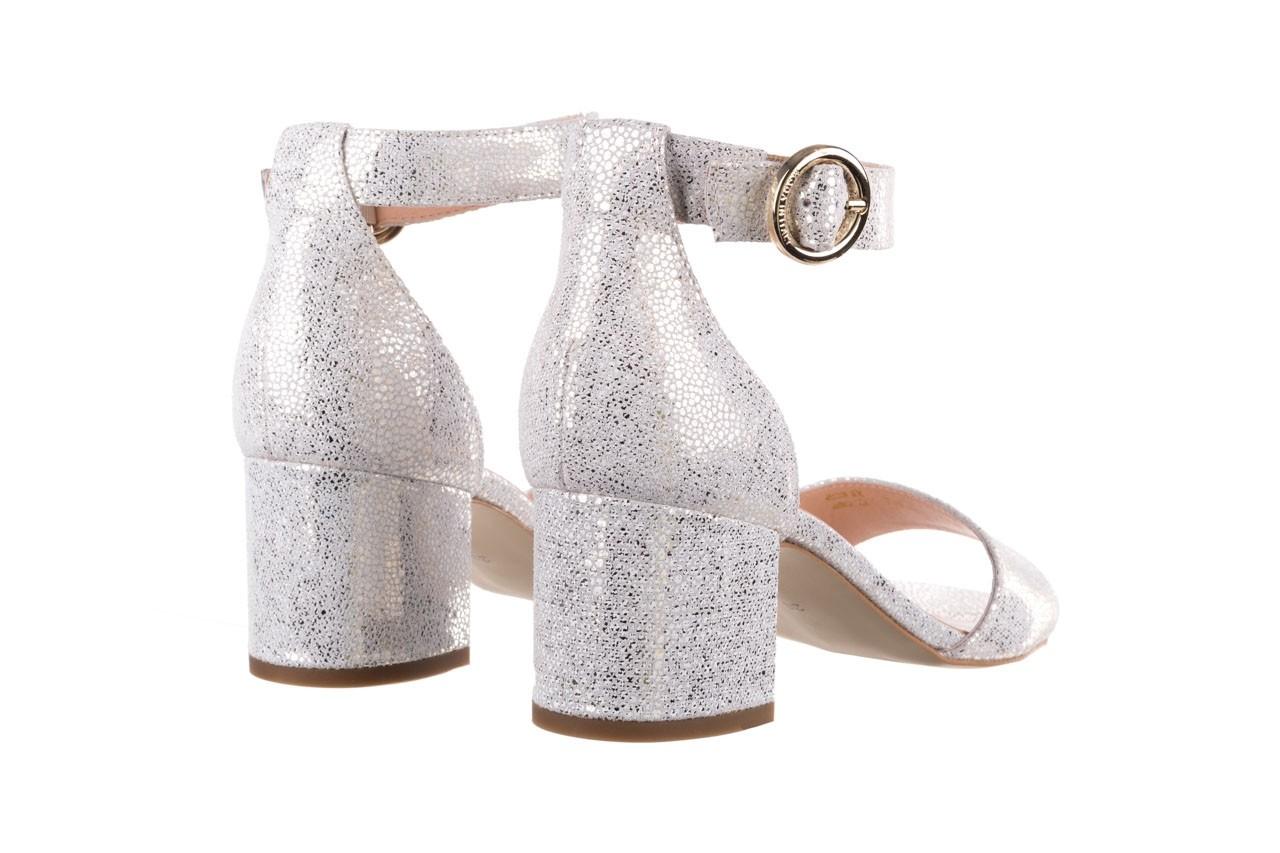 Sandały bayla-056 7049-1152 biały melanż, skóra naturalna  - na obcasie - sandały - buty damskie - kobieta 10