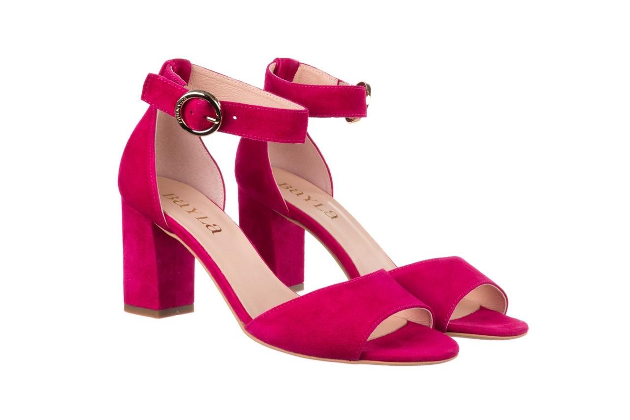 Sandały bayla-056 9249-1311 fuksja zamsz, skóra naturalna  - na obcasie - sandały - buty damskie - kobieta 7