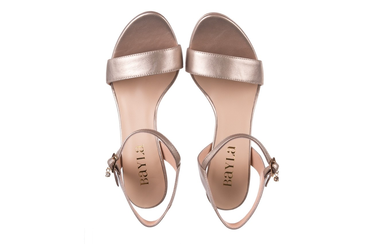 Sandały bayla-056 9163-1099 beż perła, skóra naturalna  - na obcasie - sandały - buty damskie - kobieta 11
