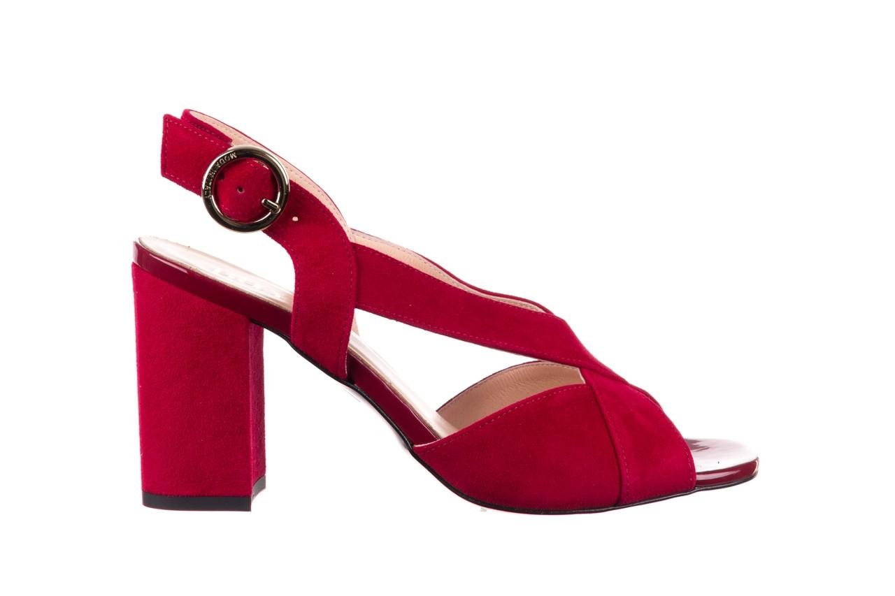 Sandały bayla-056 9205-1432 burgund zamsz, skóra naturalna  - na obcasie - sandały - buty damskie - kobieta 7