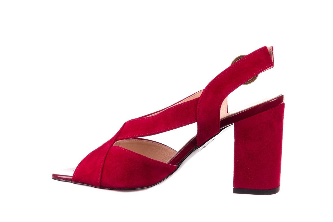 Sandały bayla-056 9205-1432 burgund zamsz, skóra naturalna  - na obcasie - sandały - buty damskie - kobieta 9