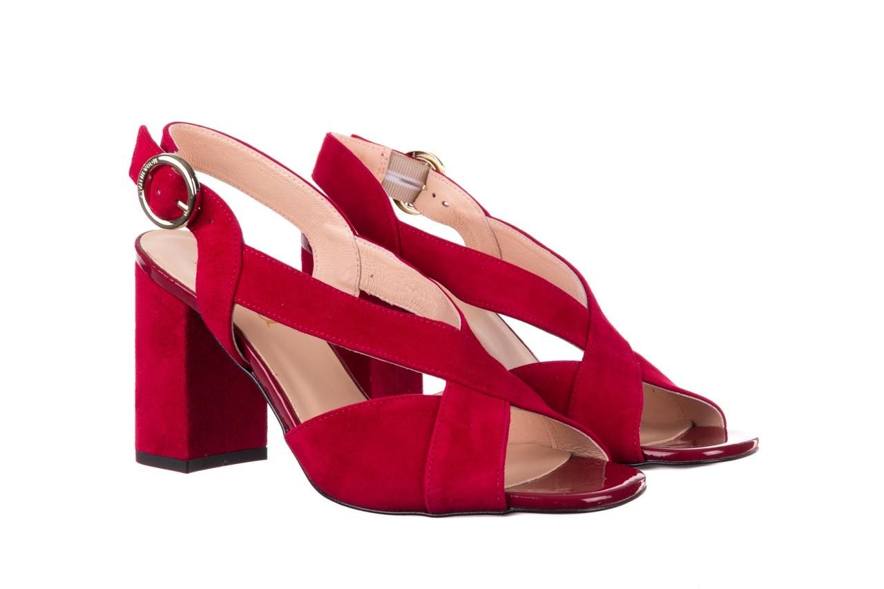 Sandały bayla-056 9205-1432 burgund zamsz, skóra naturalna  - na obcasie - sandały - buty damskie - kobieta 8