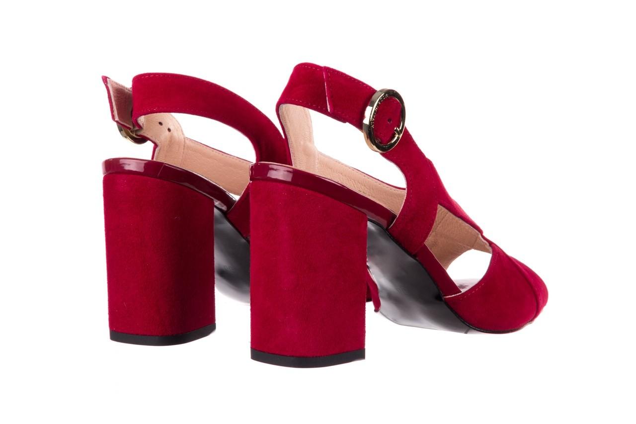 Sandały bayla-056 9205-1432 burgund zamsz, skóra naturalna  - na obcasie - sandały - buty damskie - kobieta 10