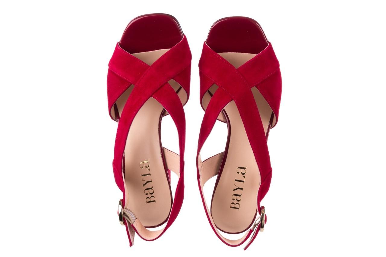 Sandały bayla-056 9205-1432 burgund zamsz, skóra naturalna  - na obcasie - sandały - buty damskie - kobieta 11