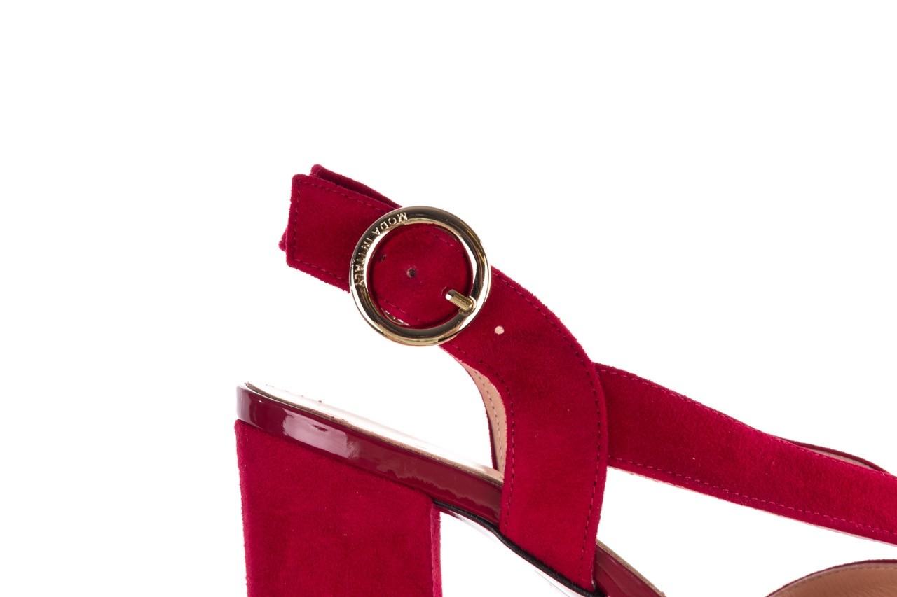 Sandały bayla-056 9205-1432 burgund zamsz, skóra naturalna  - na obcasie - sandały - buty damskie - kobieta 13