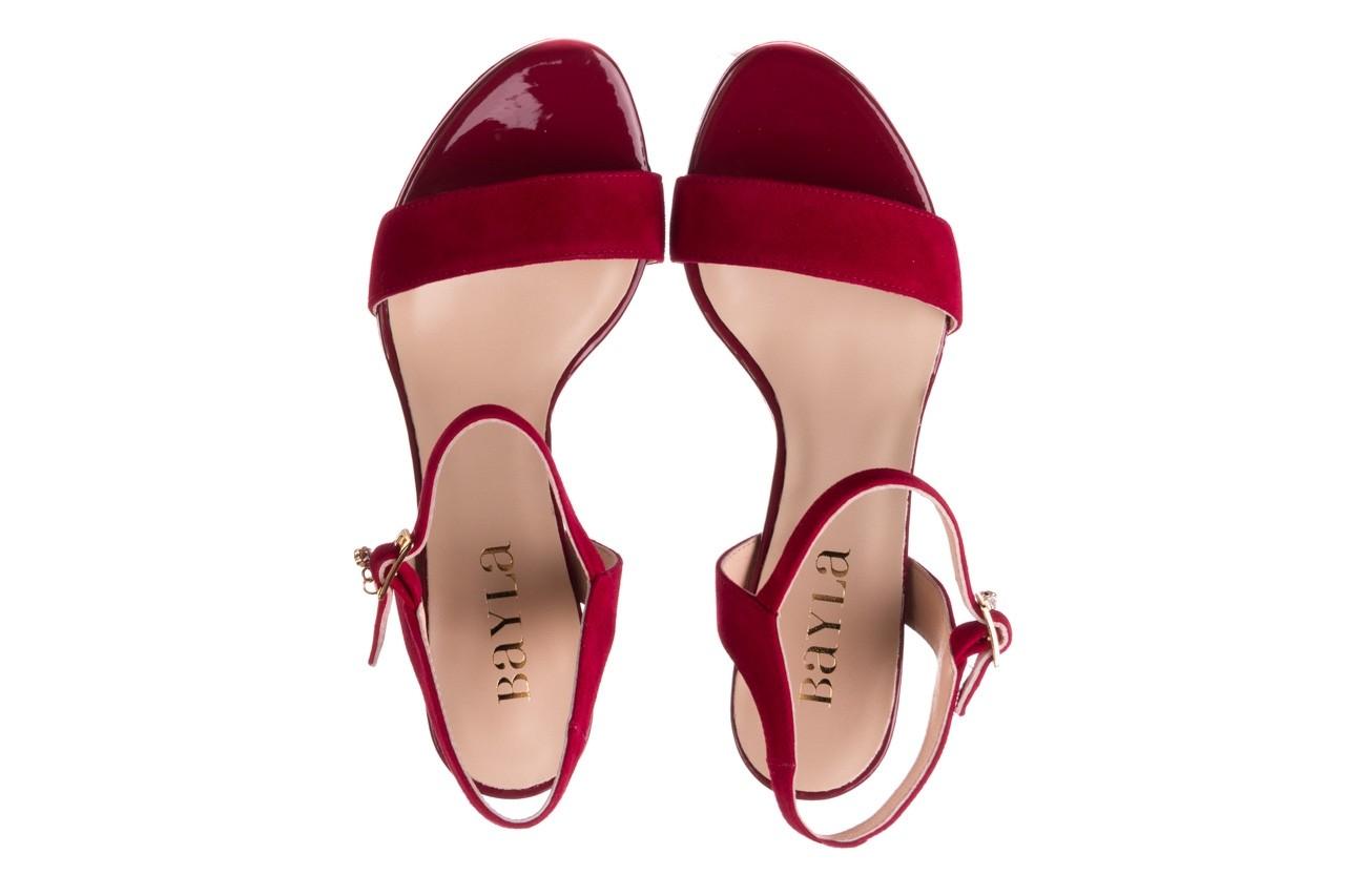 Sandały bayla-056 9163-1432 burgund zamsz, skóra naturalna  - formal style - trendy - kobieta 11