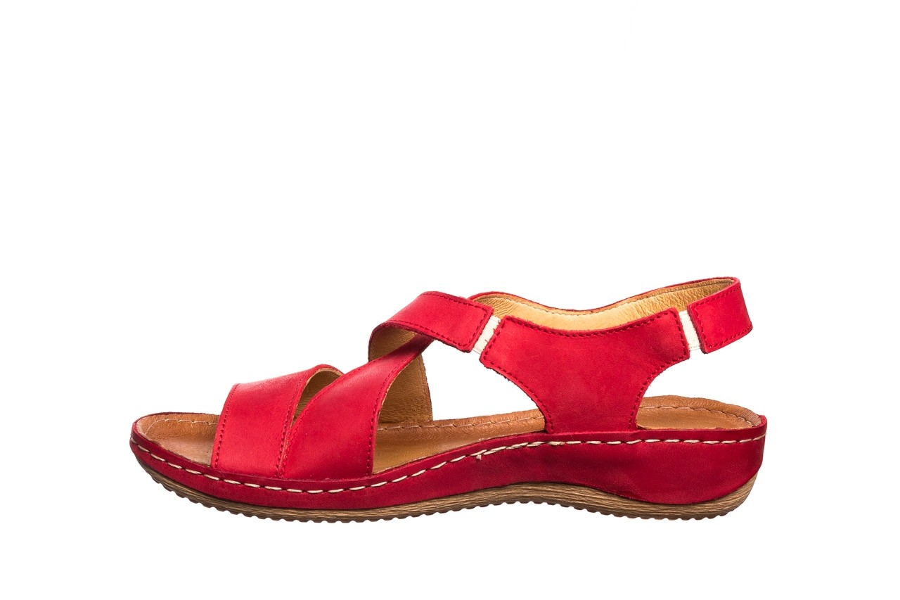 Sandały bayla-100 449 czerwony, skóra naturalna - dla niej  - sale 10