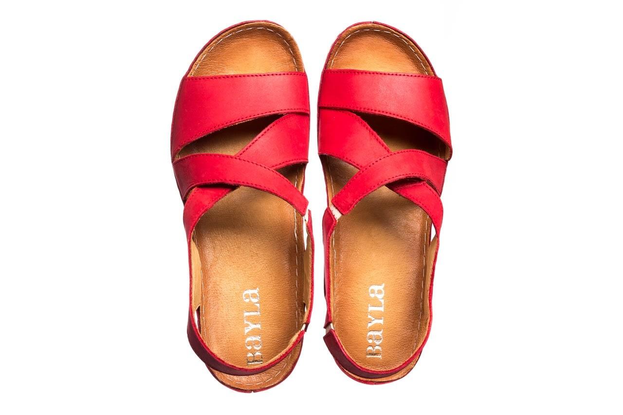 Sandały bayla-100 449 czerwony, skóra naturalna - dla niej  - sale 12