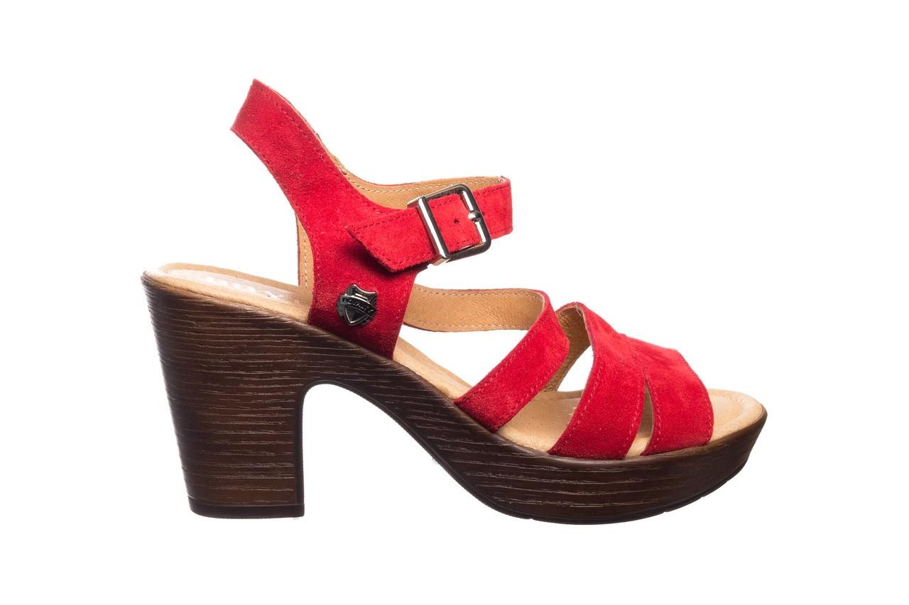 Sandały bayla-100 505 czerwony welur, skóra naturalna  - na obcasie - sandały - buty damskie - kobieta 7