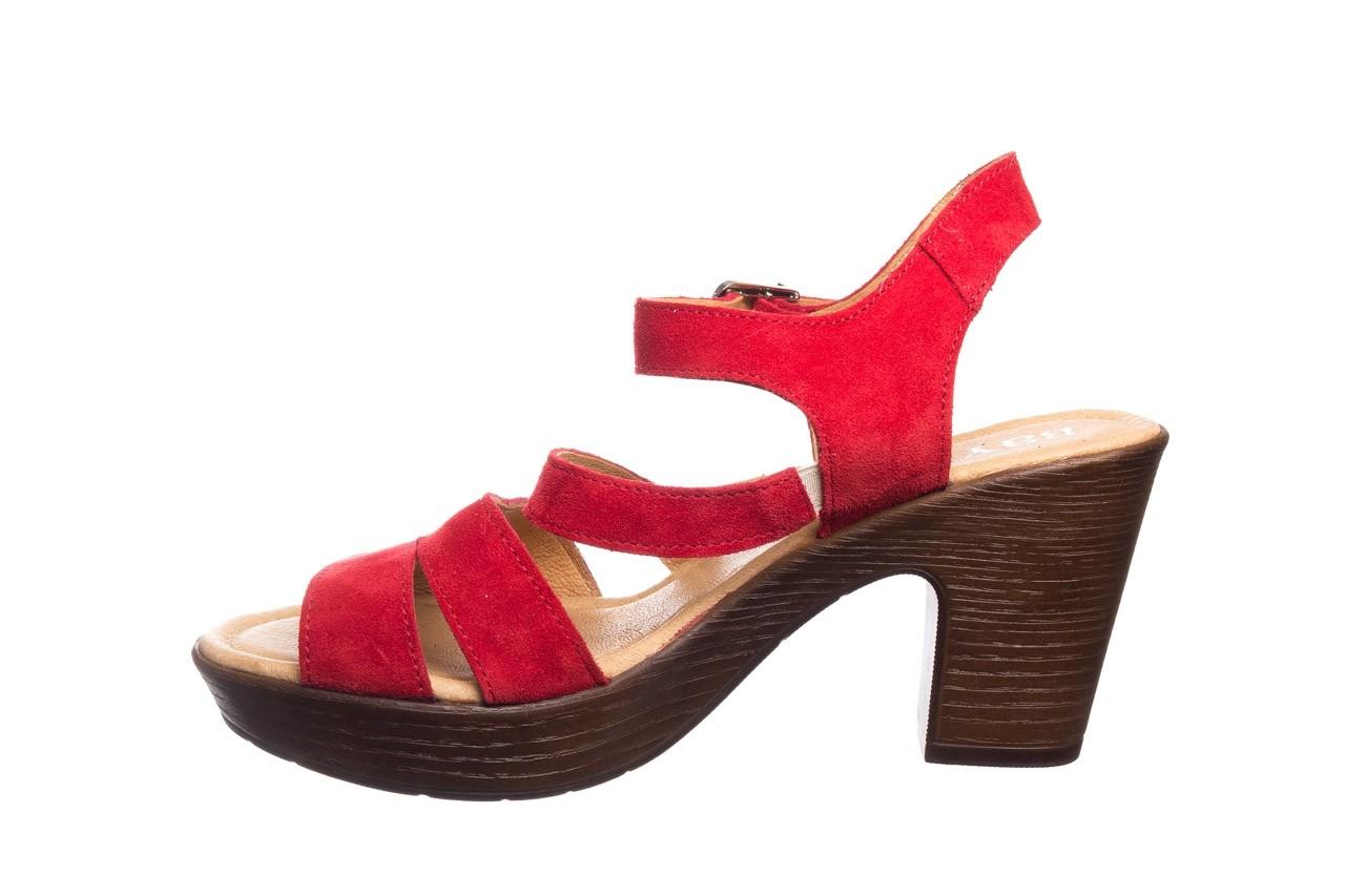 Sandały bayla-100 505 czerwony welur, skóra naturalna  - na obcasie - sandały - buty damskie - kobieta 9