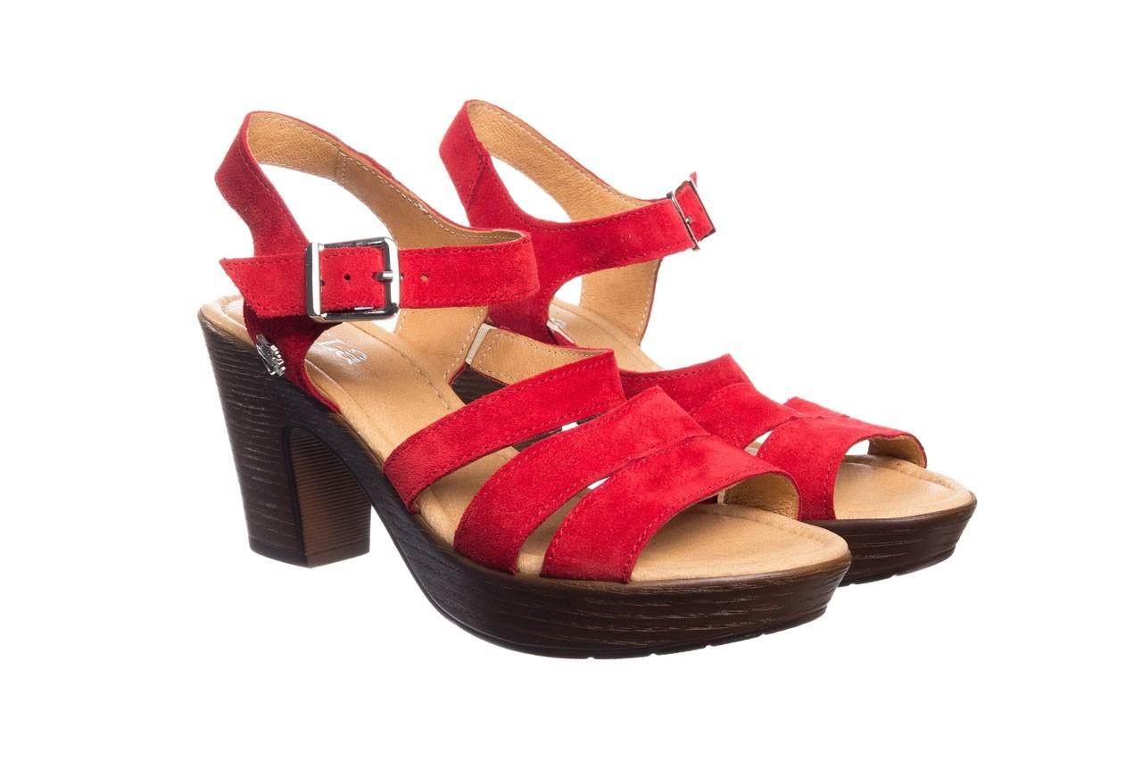 Sandały bayla-100 505 czerwony welur, skóra naturalna  - na obcasie - sandały - buty damskie - kobieta 8