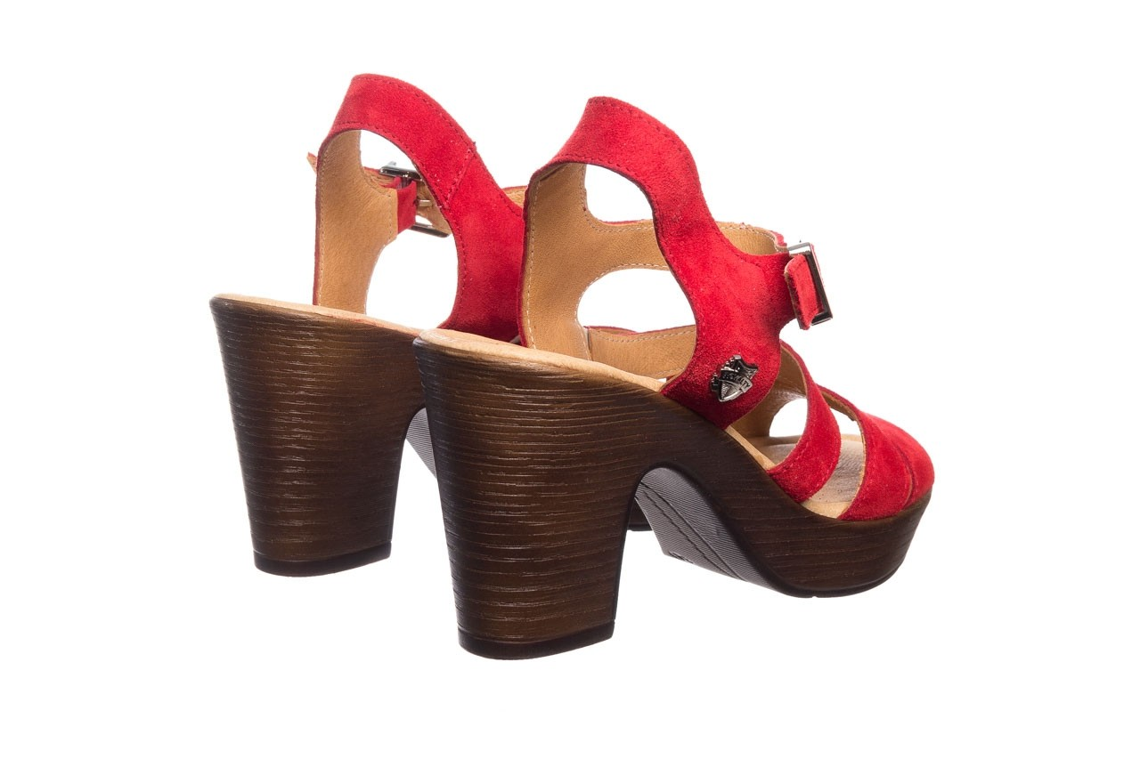 Sandały bayla-100 505 czerwony welur, skóra naturalna  - na obcasie - sandały - buty damskie - kobieta 10