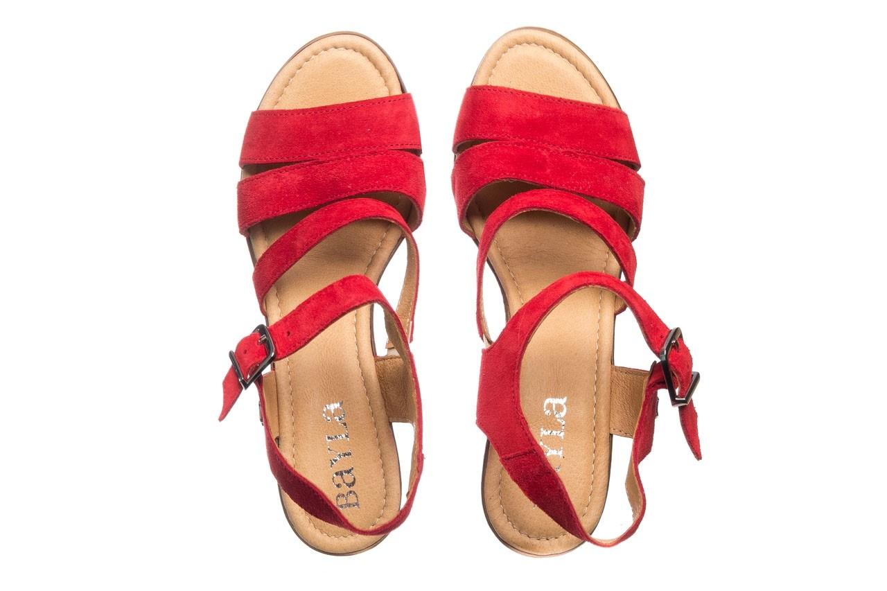 Sandały bayla-100 505 czerwony welur, skóra naturalna  - na obcasie - sandały - buty damskie - kobieta 11