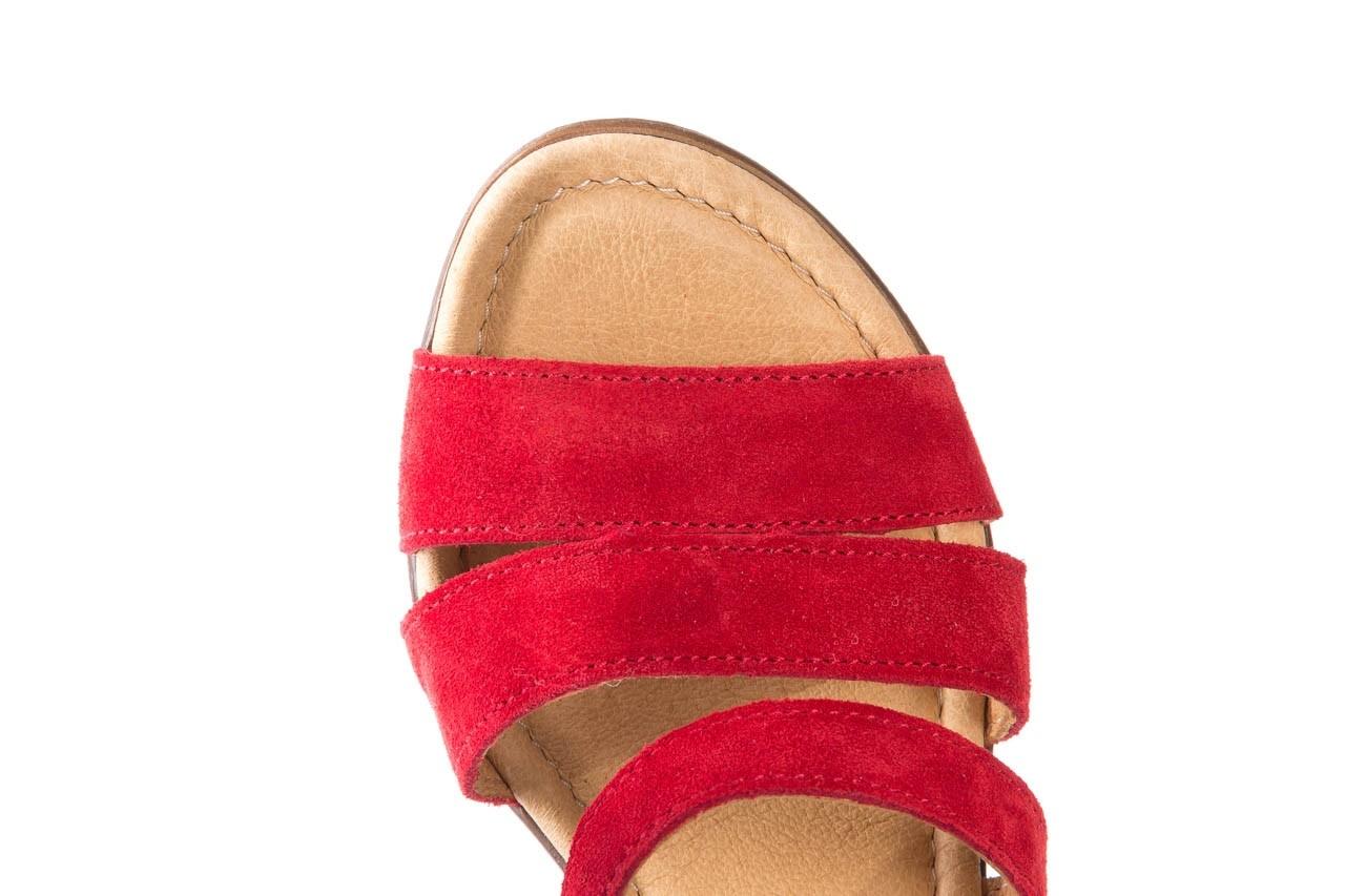 Sandały bayla-100 505 czerwony welur, skóra naturalna  - na obcasie - sandały - buty damskie - kobieta 12