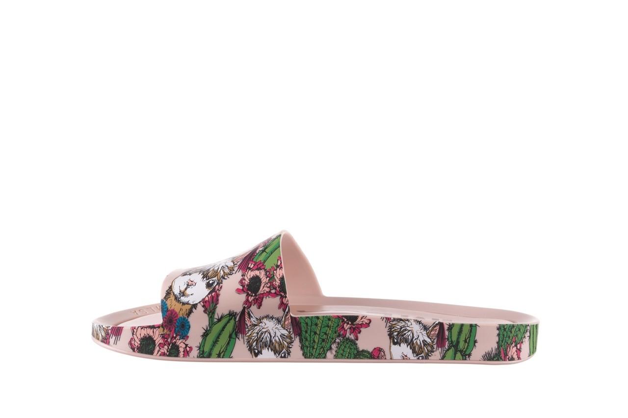 Klapki melissa beach slide 3db iv ad pink green, róż, guma - dla niej  - sale 10
