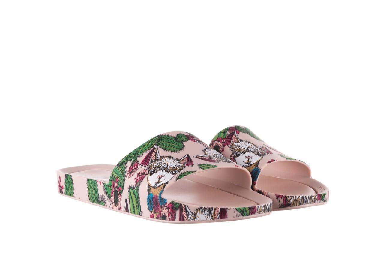 Klapki melissa beach slide 3db iv ad pink green, róż, guma - dla niej  - sale 9