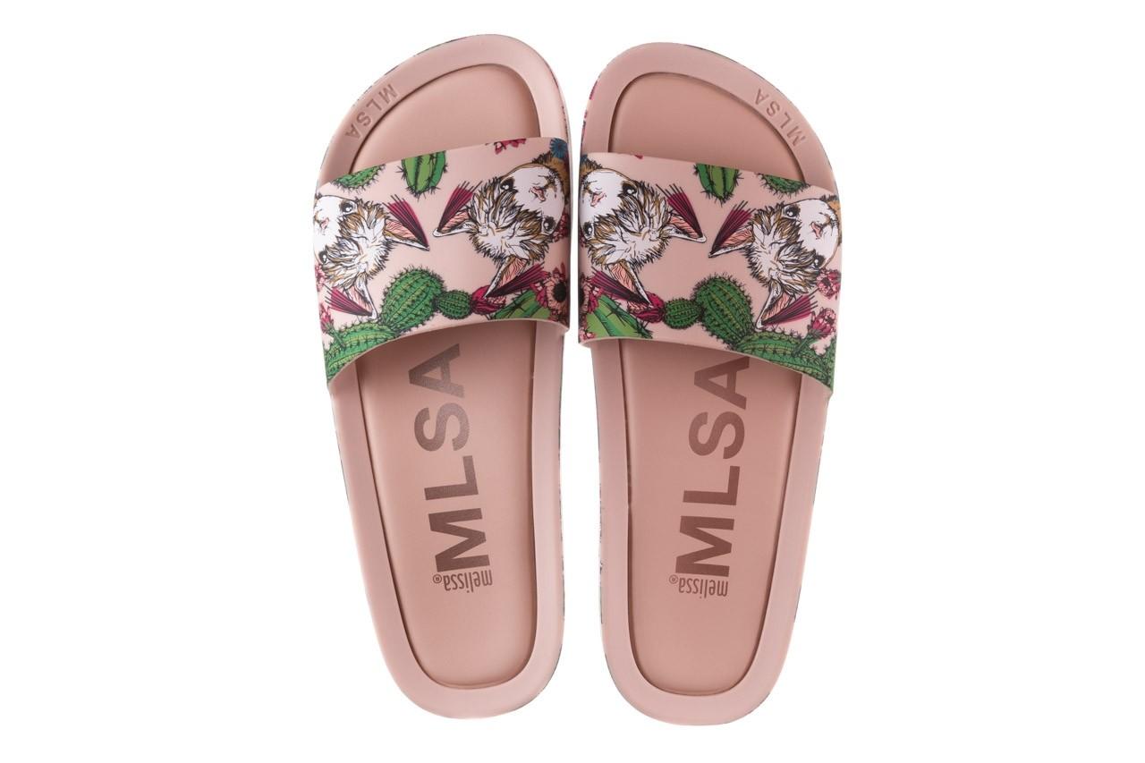 Klapki melissa beach slide 3db iv ad pink green, róż, guma - dla niej  - sale 12