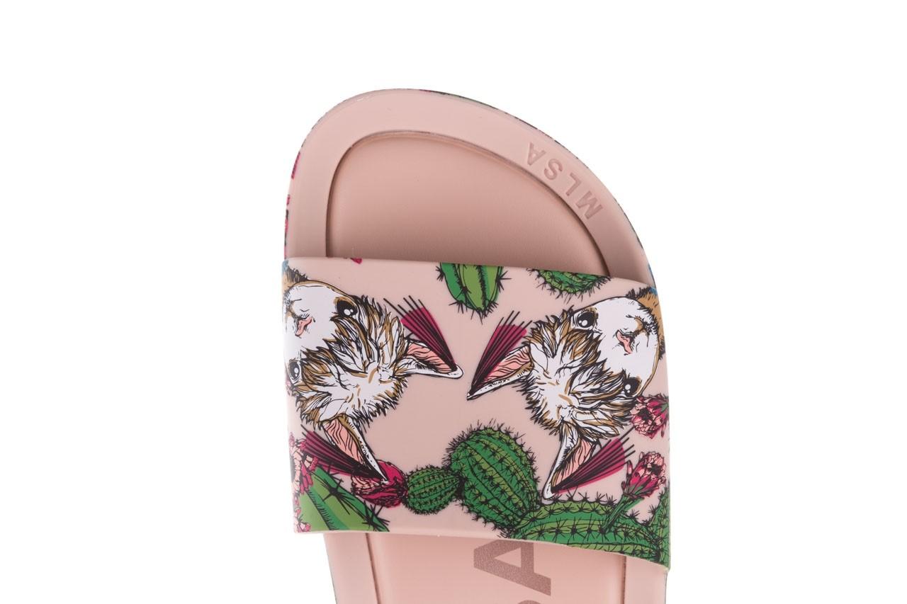 Klapki melissa beach slide 3db iv ad pink green, róż, guma - dla niej  - sale 14