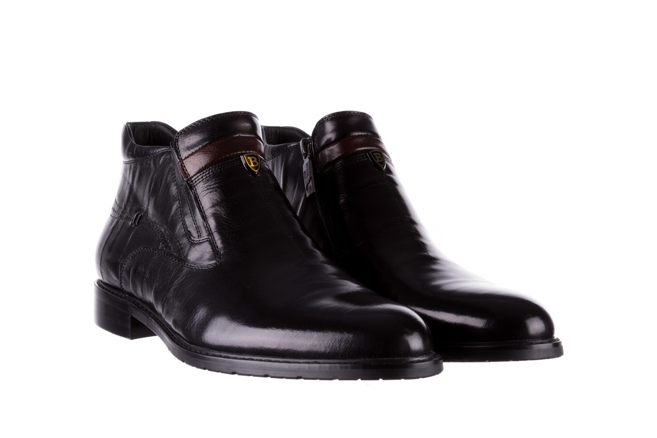 Trzewiki john doubare ygfr-z106-305-1 black, czarny, skóra naturalna  - buty męskie - mężczyzna 8