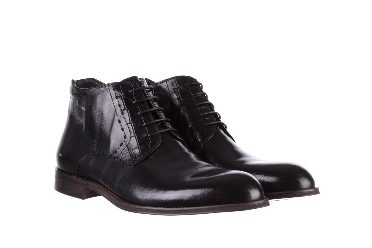 Trzewiki brooman l9002-26-a13-r black, czarny, skóra naturalna  - półbuty - buty męskie - mężczyzna 9