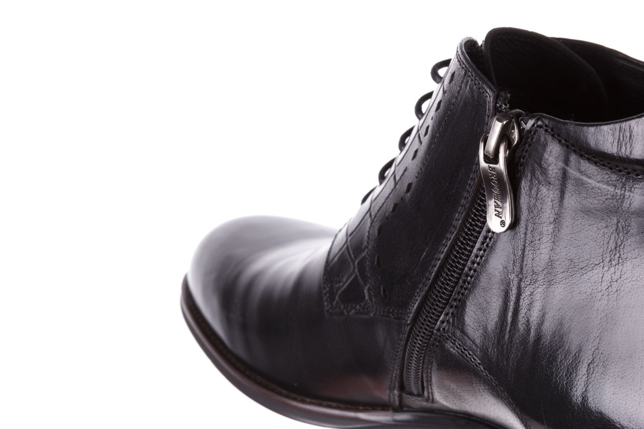 Trzewiki brooman l9002-26-a13-r black, czarny, skóra naturalna  - półbuty - buty męskie - mężczyzna 14