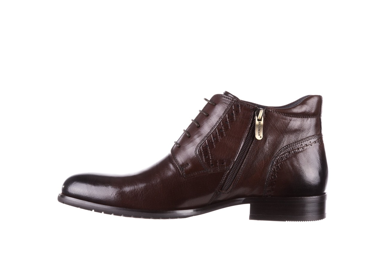Trzewiki brooman h810-310-p3r brown, brązowy, skóra naturalna  - buty męskie - mężczyzna 10