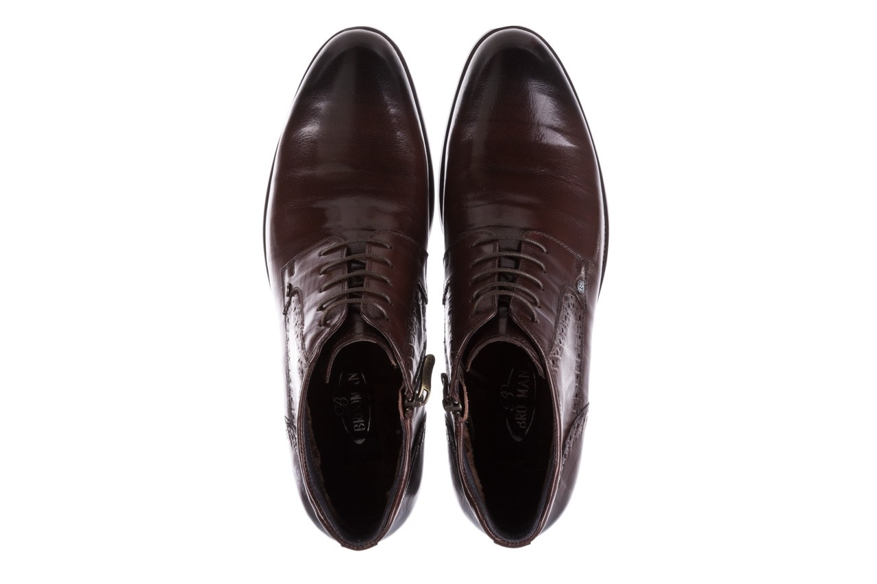 Trzewiki brooman h810-310-p3r brown, brązowy, skóra naturalna  - buty męskie - mężczyzna 12