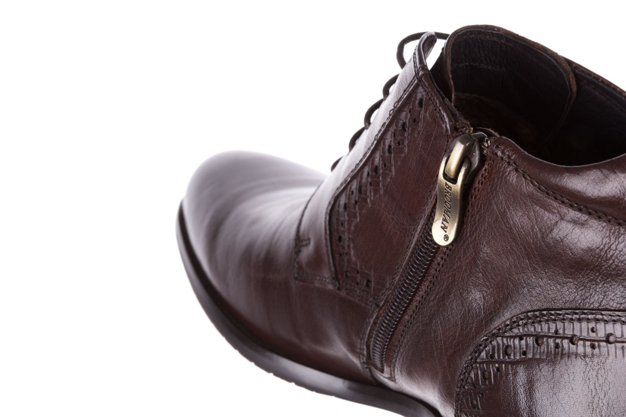 Trzewiki brooman h810-310-p3r brown, brązowy, skóra naturalna  - buty męskie - mężczyzna 14