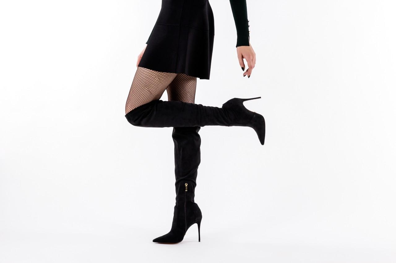 Kozaki bayla-067 130307 nobuck strech black, czarny, skóra ekologiczna  - z elastyczną cholewką / stretch - kozaki - buty damskie - kobieta 17