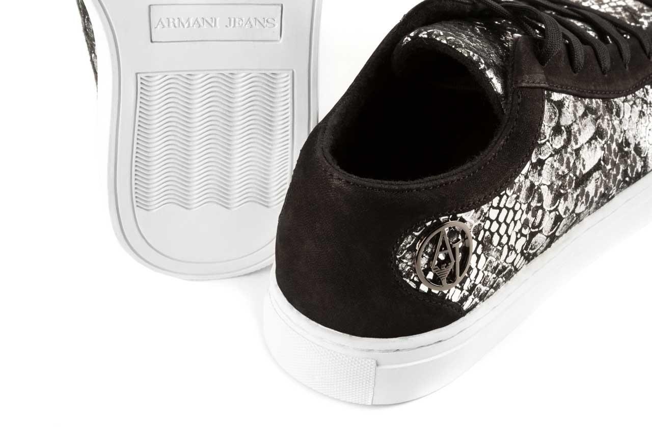 Trampki armani jeans b55g7 57 argento, szary/czarny, skóra naturalna - armani jeans - nasze marki 11