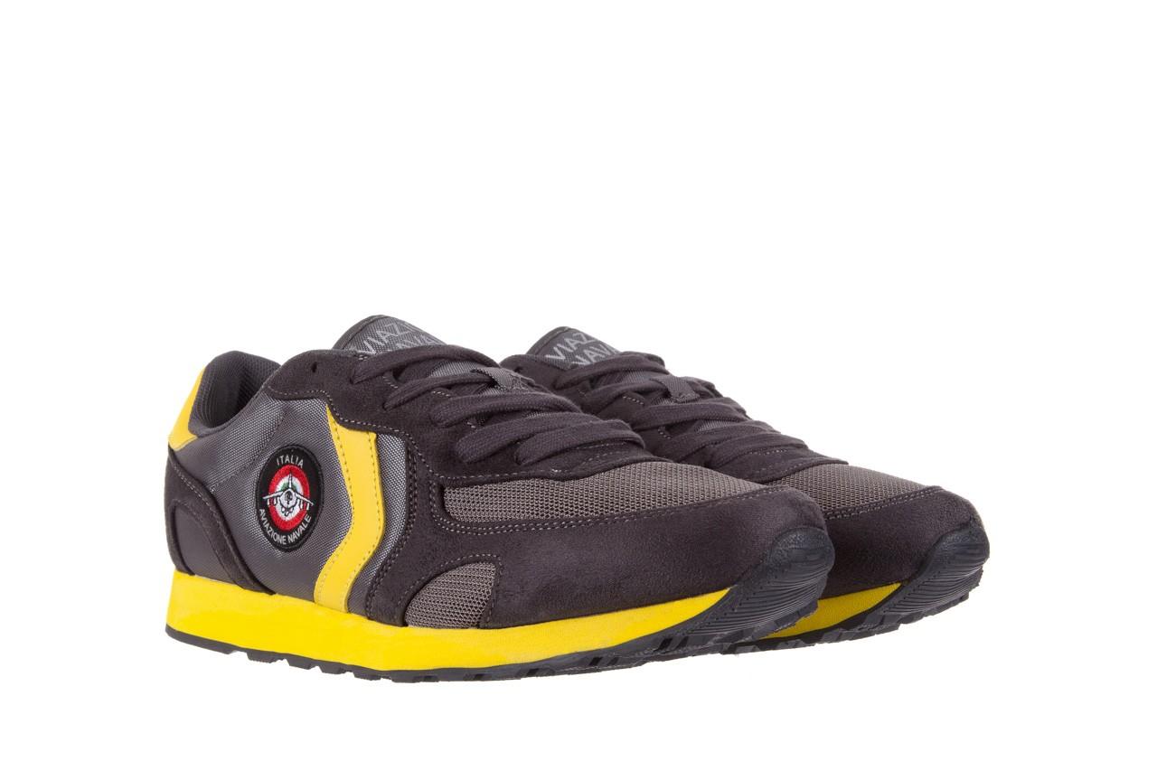 Sneakersy aviazione navale an100 dk. grey, szary, materiał 7
