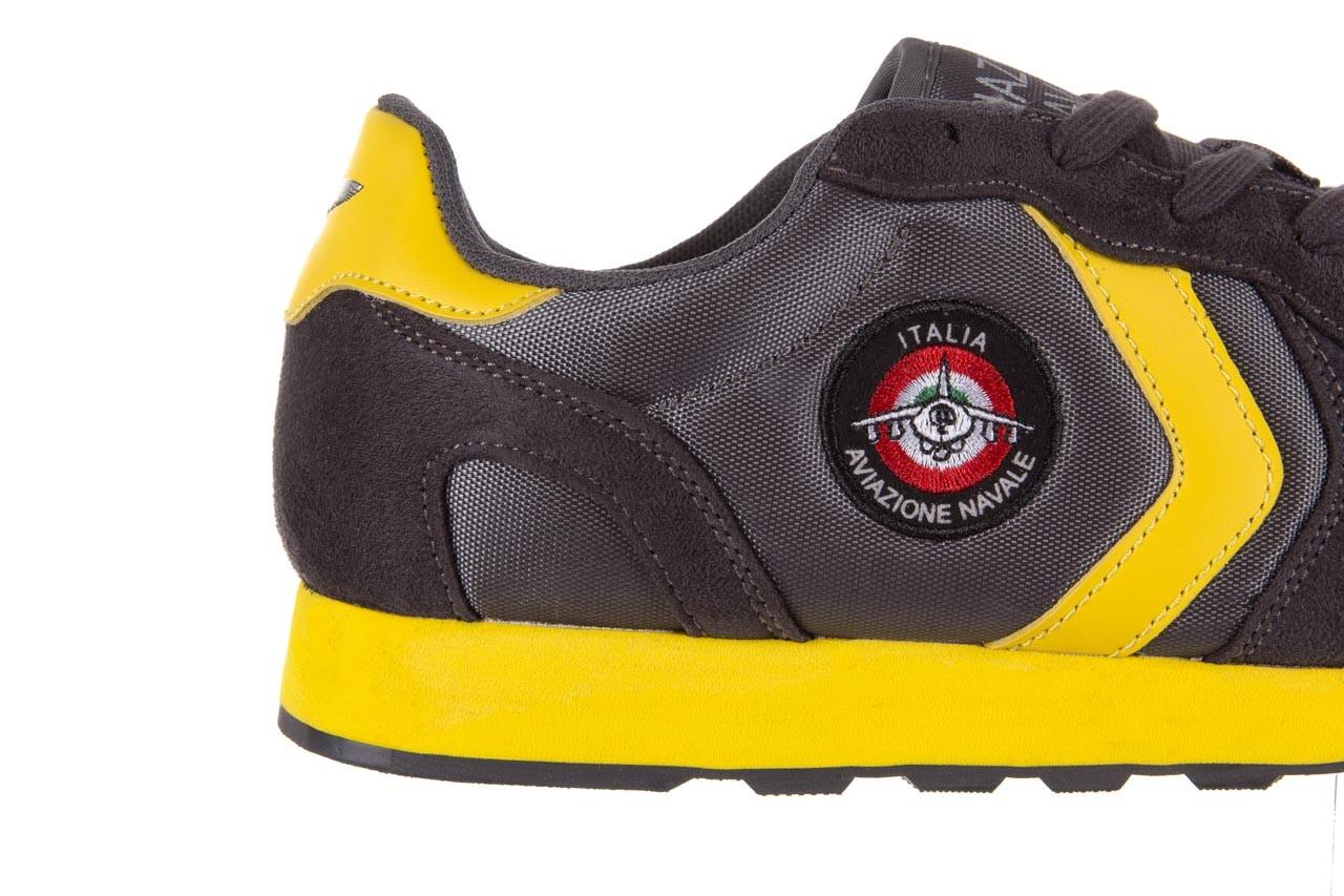 Sneakersy aviazione navale an100 dk. grey, szary, materiał 11