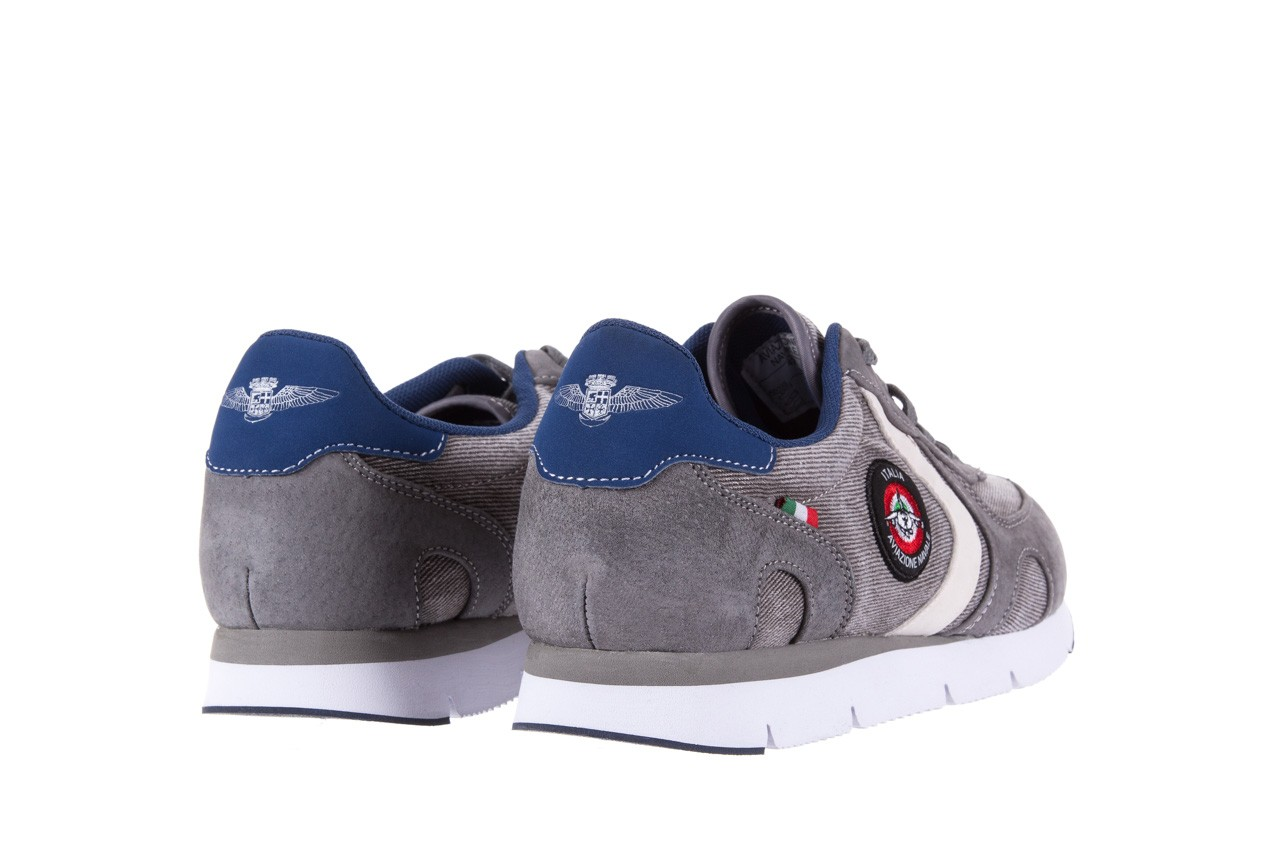 Sneakersy aviazione navale an103 grey, szary, materiał 9