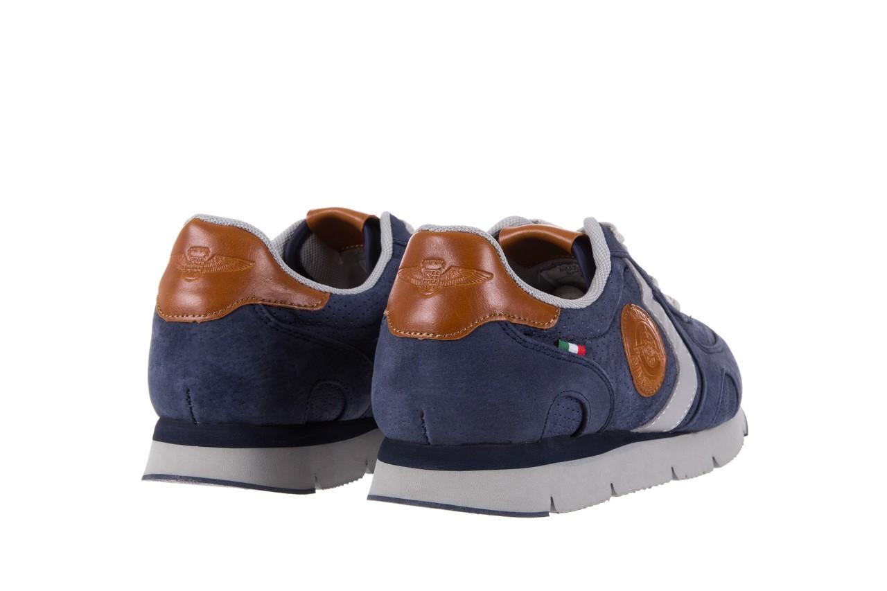 Sneakersy aviazione navale an104 blue, granat, skóra naturalna 9