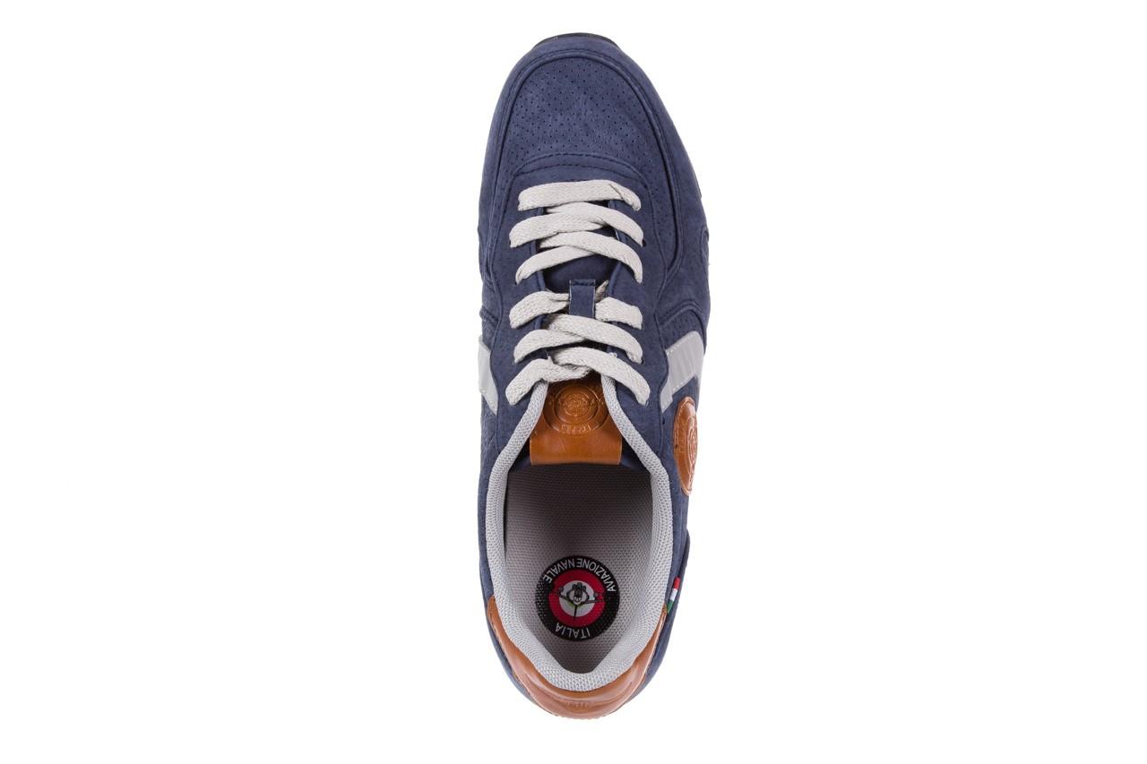 Sneakersy aviazione navale an104 blue, granat, skóra naturalna 10