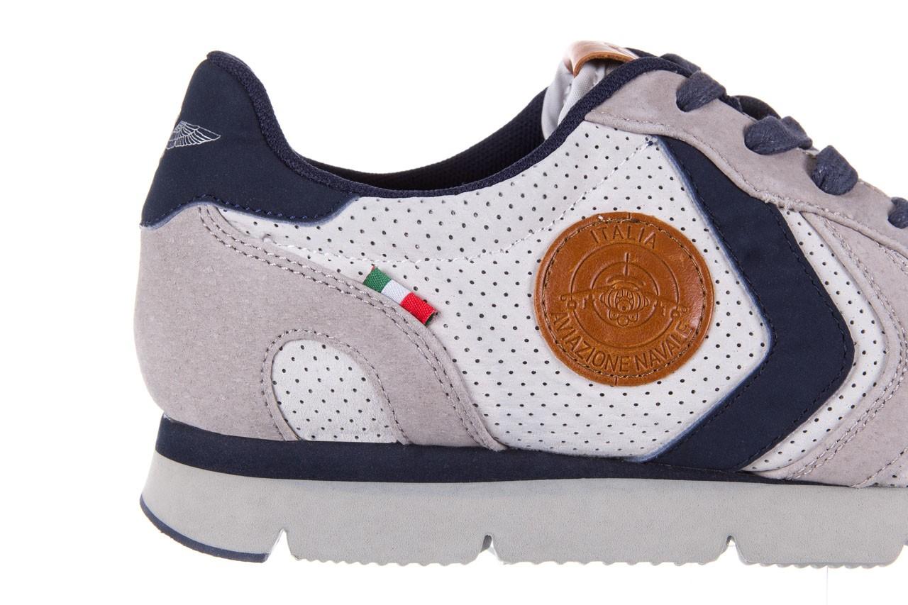 Sneakersy aviazione navale an104 grey, szary/ biały, materiał 11