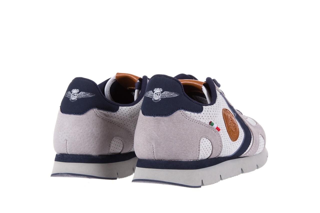 Sneakersy aviazione navale an104 grey, szary/ biały, materiał 9