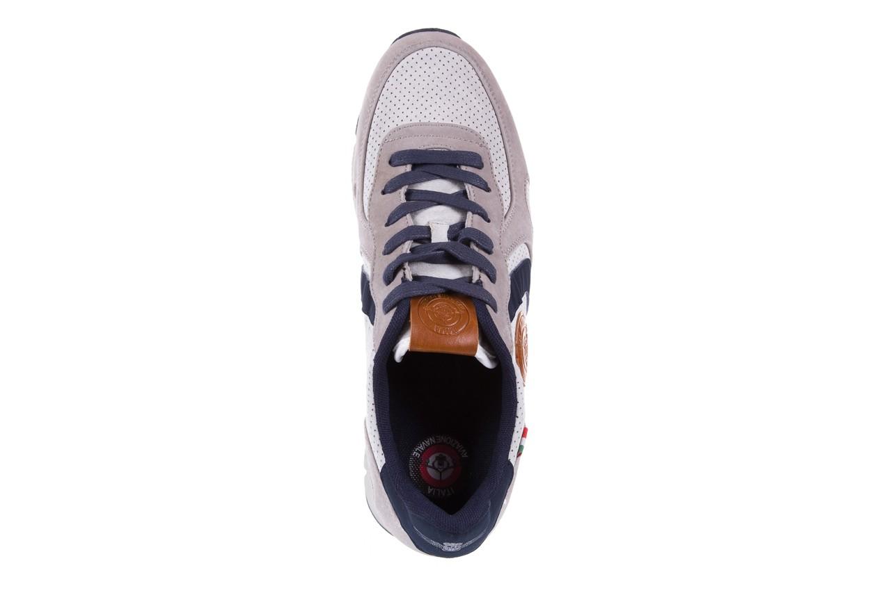 Sneakersy aviazione navale an104 grey, szary/ biały, materiał 10