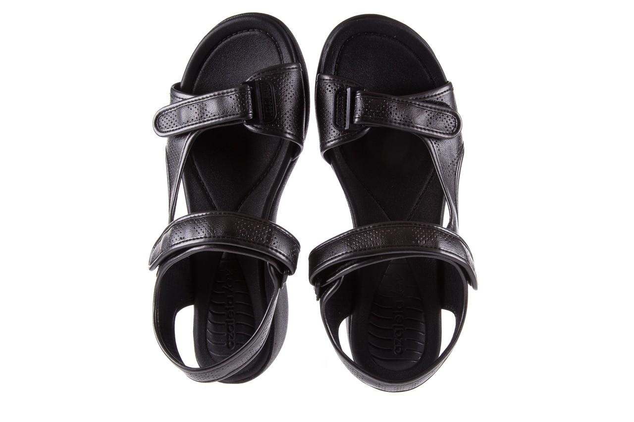 Sandały azaleia 346 602 perf black, czarny, materiał 11