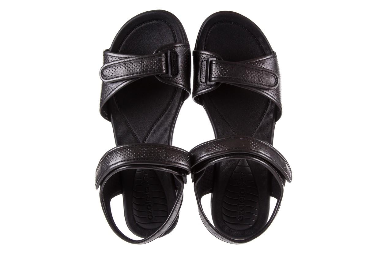 Sandały azaleia 346 601 perf black, czarny, materiał 11