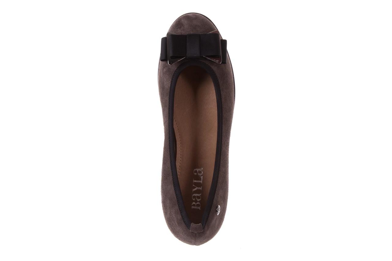 Baleriny bayla-018 1063-303 taupe black, brąz/czarny, skóra naturalna 10