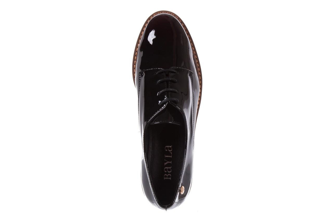 Półbuty bayla-018 1133-x57 burgundy black, bordo/czarny, skóra naturalna lakierowana  - bayla - nasze marki 11