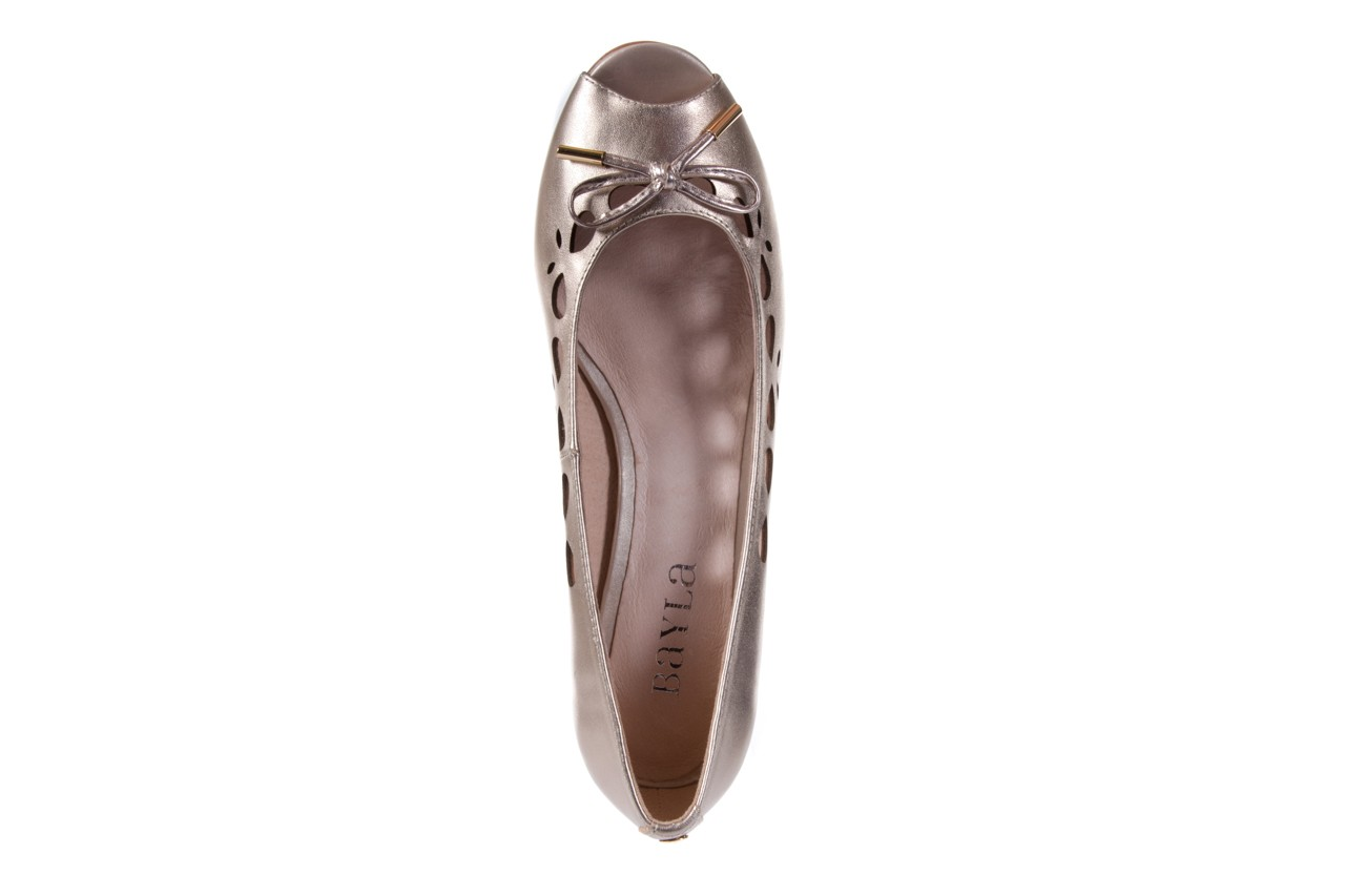 Czółenka bayla-018 1252-x3 champagne, beż, skóra naturalna - na koturnie - czółenka - buty damskie - kobieta 10
