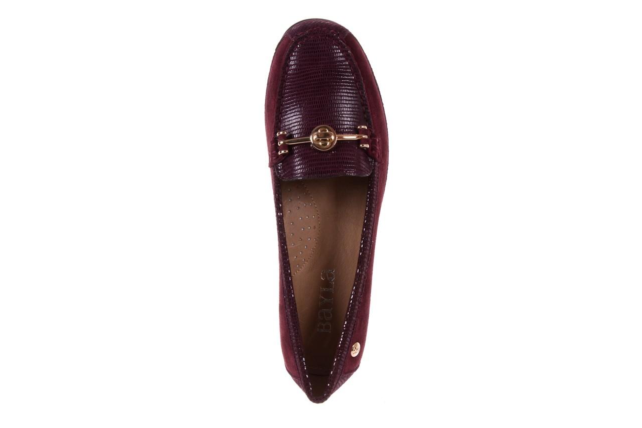 Mokasyny bayla-018 1647-20 dark burgundy, bordo, skóra naturalna  - bayla - nasze marki 10