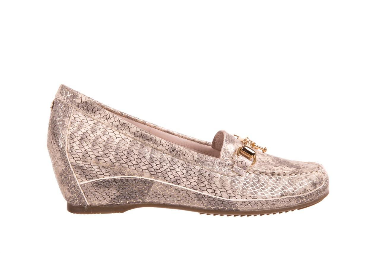 Mokasyny bayla-018 1647-29 lt. nude pewter 018523, beż/szary, skóra naturalna  - na koturnie - półbuty - buty damskie - kobieta 5