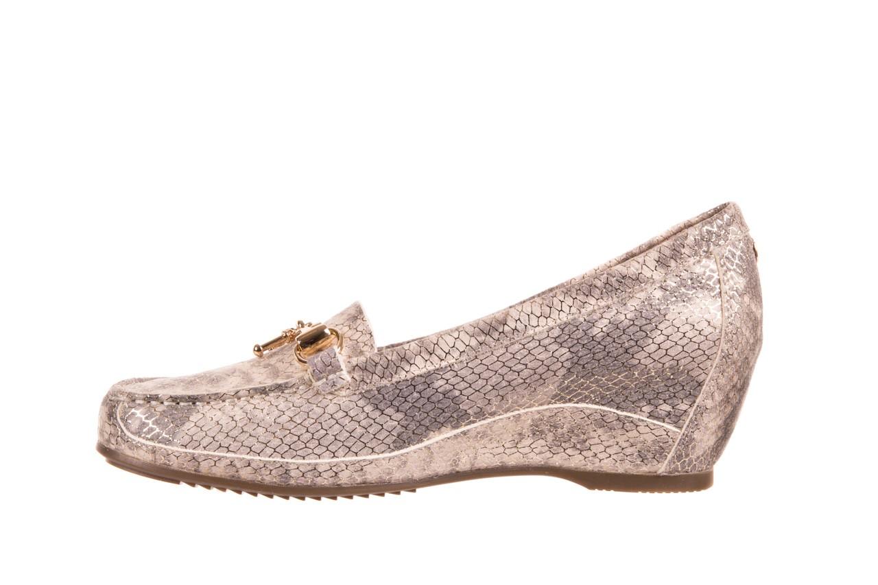 Mokasyny bayla-018 1647-29 lt. nude pewter 018523, beż/szary, skóra naturalna  - na koturnie - półbuty - buty damskie - kobieta 7