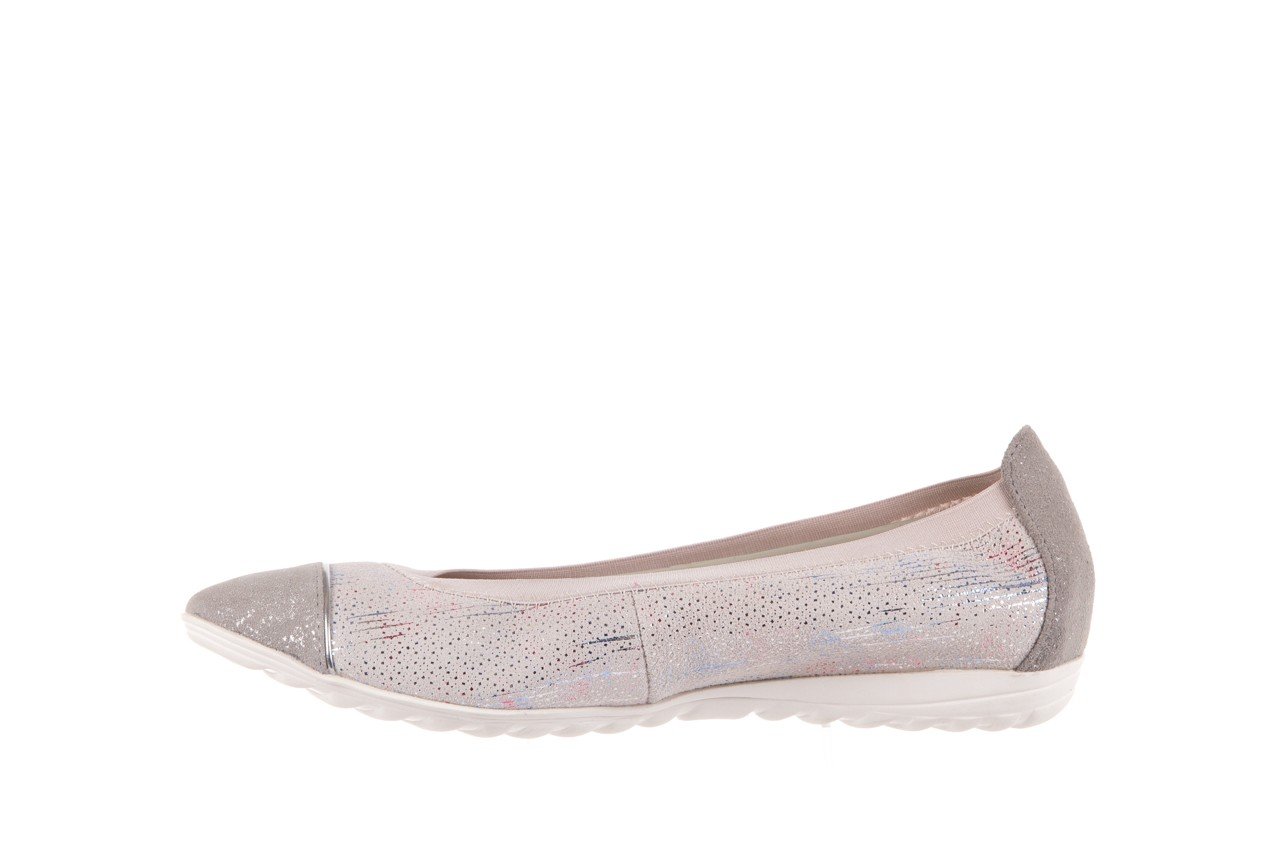 Baleriny bayla-018 1831-5 lt. grey off white silver 018534, biały/szary, skóra naturalna  - skórzane - baleriny - buty damskie - kobieta 8