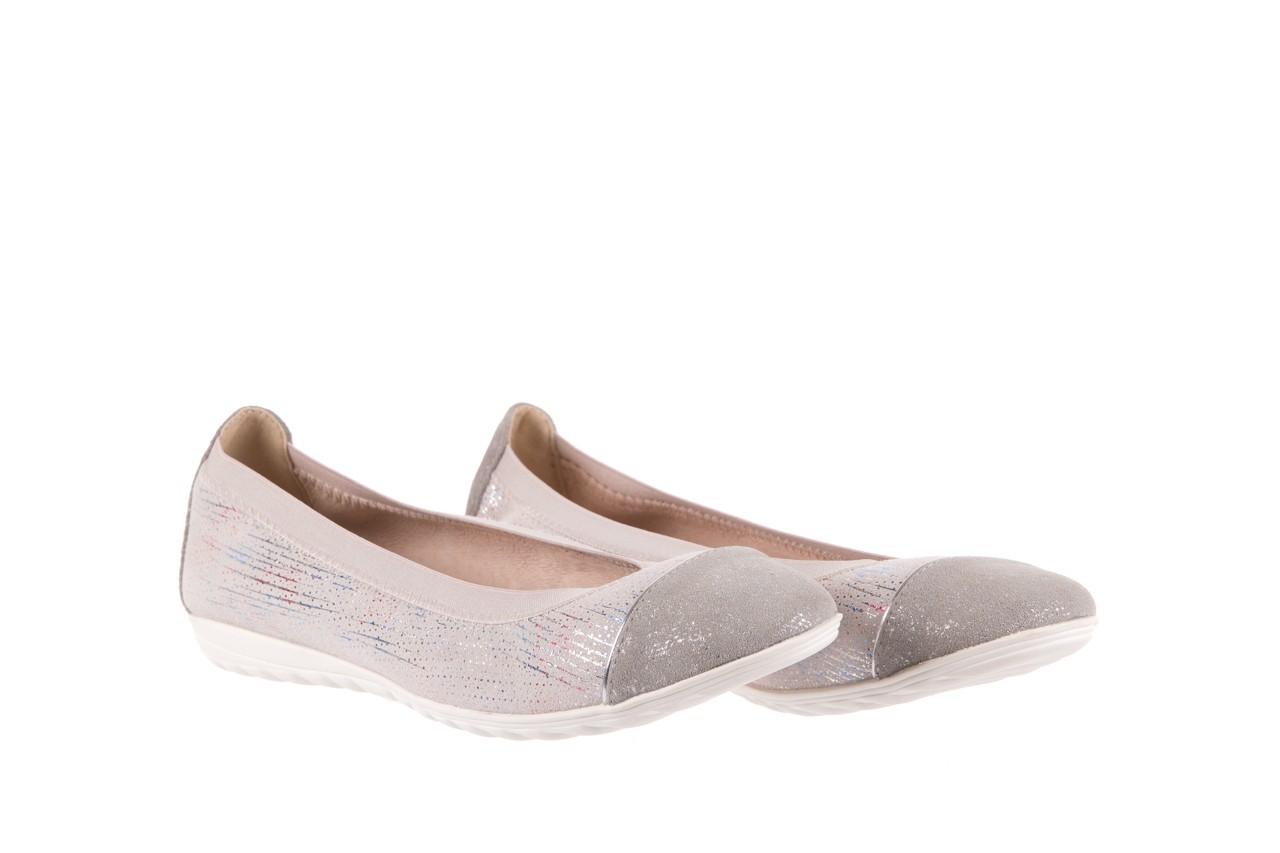 Baleriny bayla-018 1831-5 lt. grey off white silver 018534, biały/szary, skóra naturalna  - hity cenowe 7
